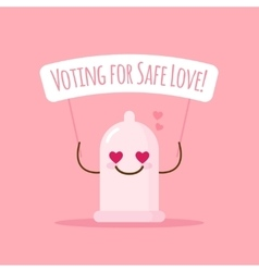 emoji condom with poster about safe love vector image vector image