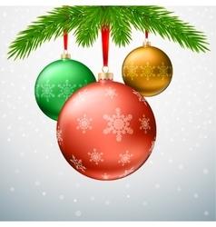 Greeting card with Christmas balls fir tree vector image