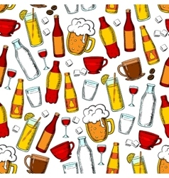 Seamless drinks and beverages pattern background vector image vector image