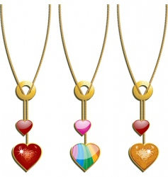 Valentine's heart necklaces vector image