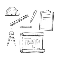 Architect drawing and tools sketches vector image