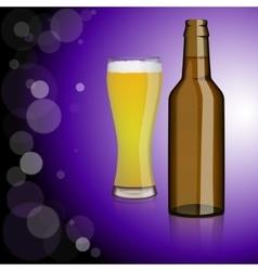 Bottle of beer glass vector image