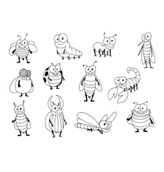 Funny cartoon colorless insect characters vector image vector image