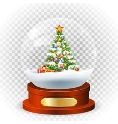 Realistic christmas snow globe vector