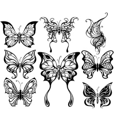 silhouettes of exotic butterflies vector image vector image