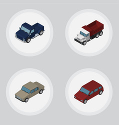 Isometric automobile set of auto suv freight and vector