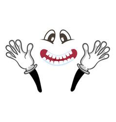 joyful smiley face with hands gesture vector image vector image
