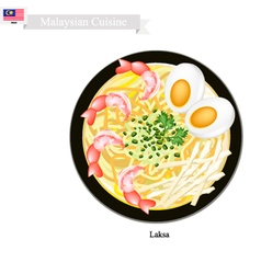 Laksa or Malaysian Rice Noodle in Spicy Soup vector image vector image