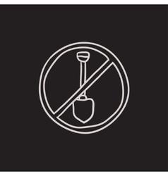 Shovel forbidden sign sketch icon vector image vector image