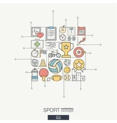 Sport integrated thin line symbols Modern color vector image