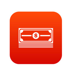stack of dollars icon digital red vector image vector image