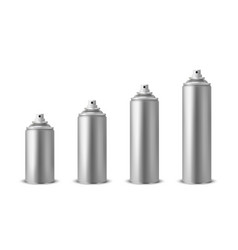 3d realistic silver blank spray can spray vector image
