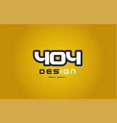 404 number numeral digit white on yellow vector