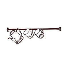 A cups are hanging a rack vector image