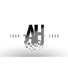 Ah a h pixel letter logo with digital shattered vector