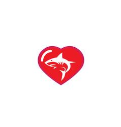 Angry blue shark fish logo design i a heart shape vector