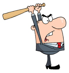Angry Businessman With Baseball Bat vector image vector image
