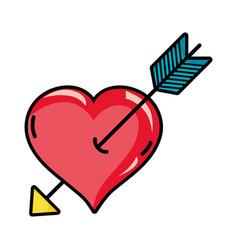 arrow inside romantic heart design vector image