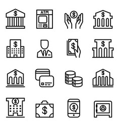 bank icon set in thin line style vector image