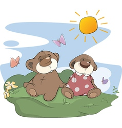 Bear cubs on a glade vector image