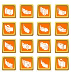 belt buckle icons set orange square vector image