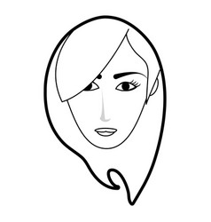 black silhouette cartoon front face woman with vector image