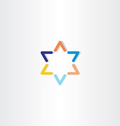 blue orange star logo icon vector image