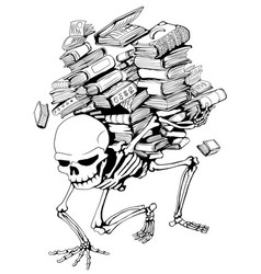 Book pile skeleton vector