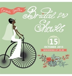 Bridal Shower invitation with bride floral vector image