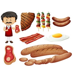 Butcher and meat products vector image