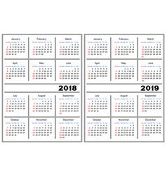 calendar template 2018 2019 vector image