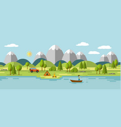 camping in the mountains also usable as a vector image