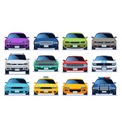 Car front view set urban city traffic vehicle vector