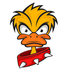 cartoon evil face duck with collar vector image