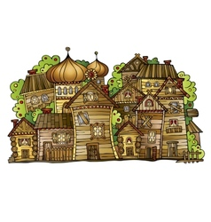Cartoon Russian old wooden village vector