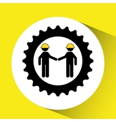 character man worker construction and gears icon vector image