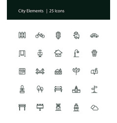 city elements and traffic light icon set vector image