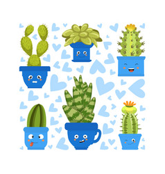 collection cute green cactus and succulent vector image