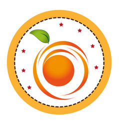 Color circular frame with abstract orange fruit vector