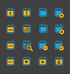 Colorful calendar icons on dark vector