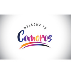 Comoros welcome to message in purple vibrant vector