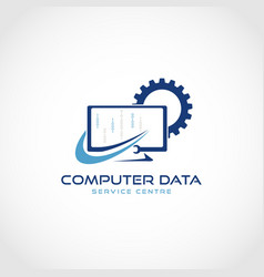 computer data service logo design vector image