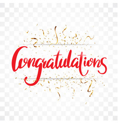Congratulations sign letters banner with gold conf vector