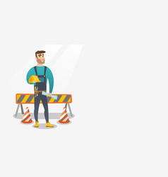 Constructor with hard hat and blueprint vector