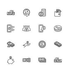 currency and money - flat line icons vector image