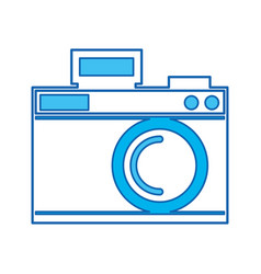 Cute blue icon camera cartoon vector