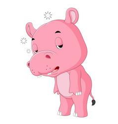 Cute hippo sleepy vector
