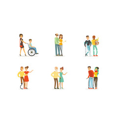disabled and old people and friends helping them vector image