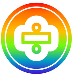 Division sign circular in rainbow spectrum vector