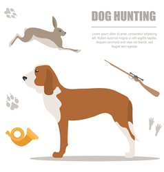 Dog hunting Flat style vector image